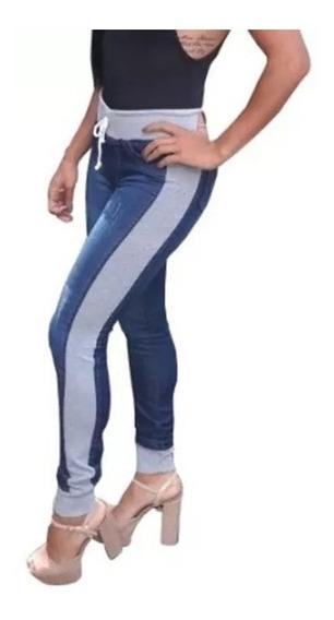 Calças Jeans Femininas Com Moletom Cintura Alta Lycra Moda