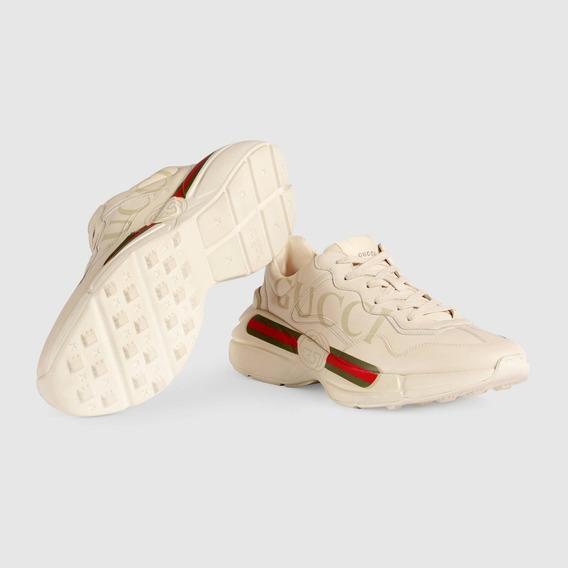 Tenis Gucci Rhyton Para Hombre Nuevos Color Crema