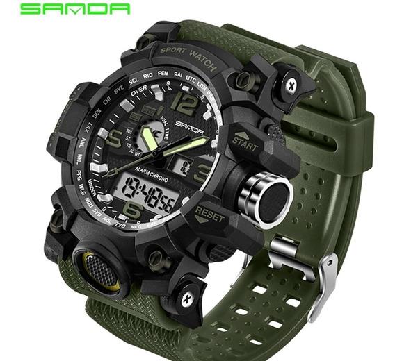 Relógio Militar Masculino Verde Exército Sanda 742