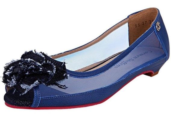 Sapatiha Feminina Carmen Steffans Bico Peep Toe Azul Couro