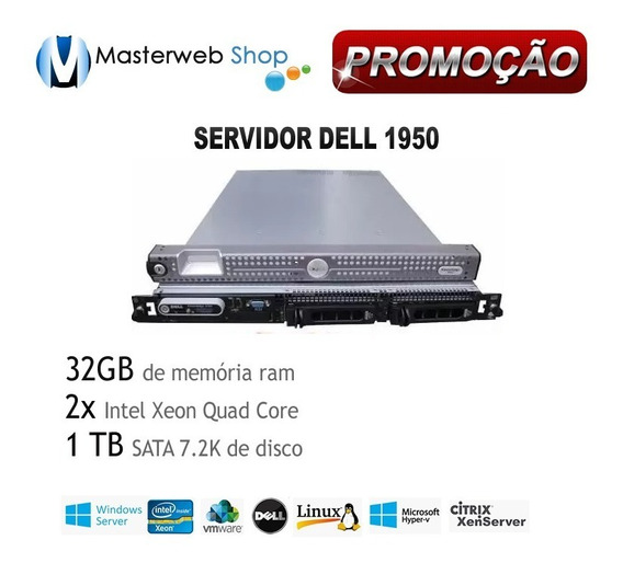 Servidor 1950 Dell - 2x Quad -32gb - 1 Terabyte De Hd