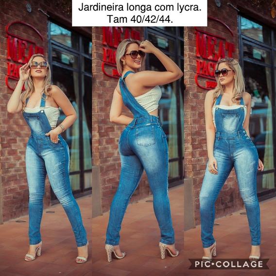 Macacão Longo Jeans Estilo Jardineira Ref444