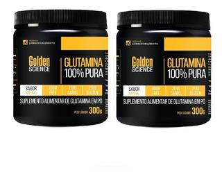 Kit C/ 2 Glutaminas 100% Pura 600g (2x 300g ) Golden Science