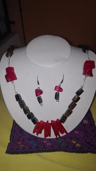 Collar Y Aretes De Ámbar De Chiapas , Coral Y Plata