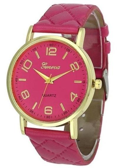 Relógio Feminino Dourado Números Geneva Brinde Caixa
