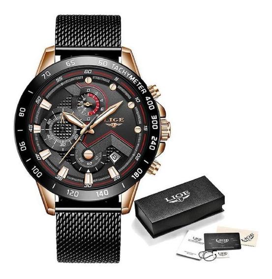 Relógio Masculino Lige 9929 Original Luxo Com Cronógrafo Funcional E Calendário Automático Esporte Fino Pronta Entrega