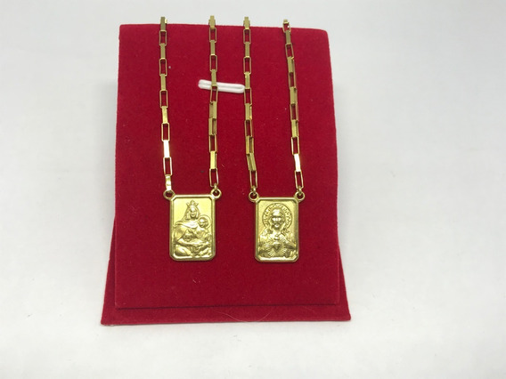 Colar Corrente Escapulario Ouro 18k Masculino Cartier