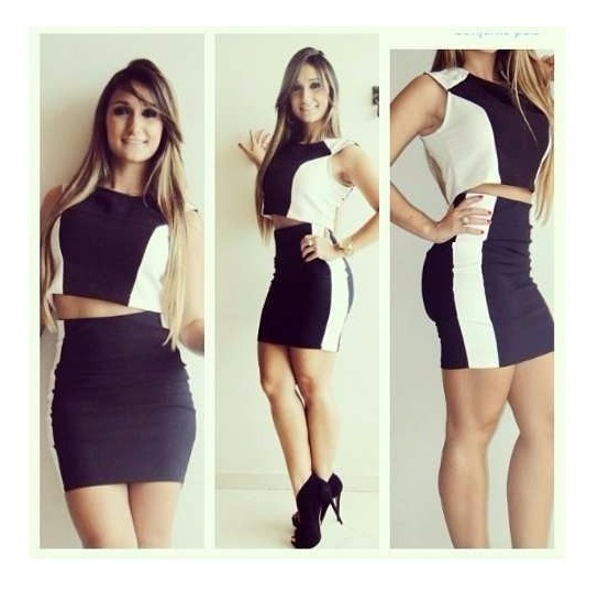 Vestidos Femininos Curto Preto E Branco Conjunto Roupa Moda