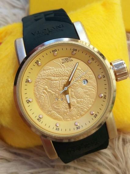 Relógio Dragon Samurai Dourado Yakuza
