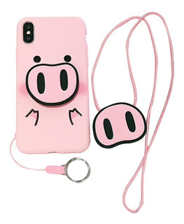 Funda Cerdito Slim Flexible Colgante Para Samsung Galaxy