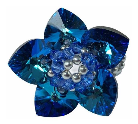 Anillo Cristal Swarovski Elements Color Blue Estandar