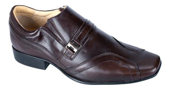 Sapato Social Couro Alcalay Bico Fino Quadrado Anatómico Gel