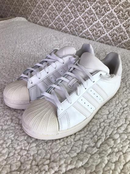 Tênis adidas De Couro Original Superstar Todo Branco