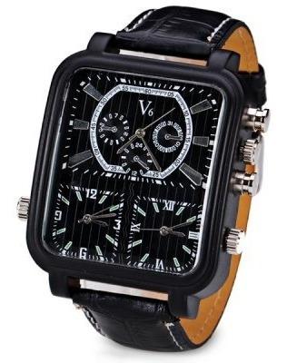 Relógio Preto Masculino V6 Analógico 3 Fuso Horário Promoção