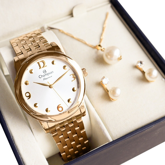 Relógio Champion Feminino Dourado Barato + Colar E Brincos