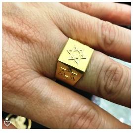 Anel Quadrado Ouro 18k Davi Salomão Hexagrama 6 Ponta Estrel