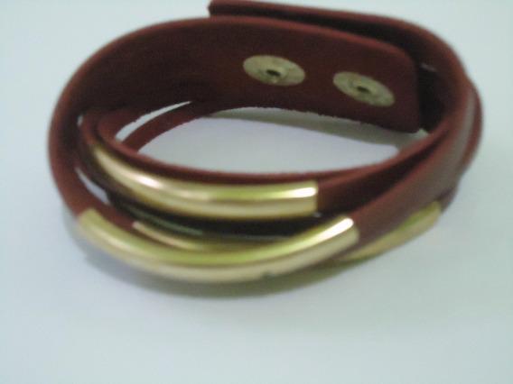 Bracelete Feminino Courino Vermelho E Dourado Luxo