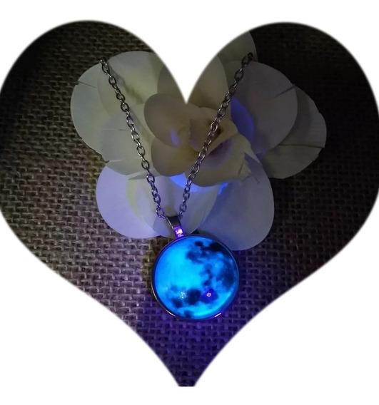 Collar Luna Llena Brilla Oscuridad Luminoso Acero Inox Moon5