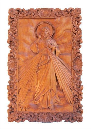 Quadro De Jesus, Em Madeira Nobre, Esculpido, Rústico