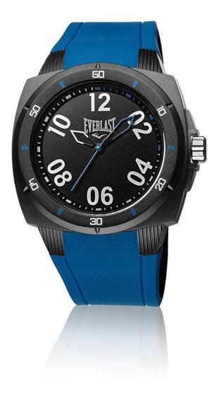 Relógio Pulso Everlast Masculino Esporte Silicone Azul E682