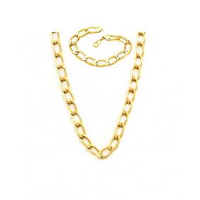 Pulseira + Corrente Banhada Ouro Corrente Cartier - Kit04