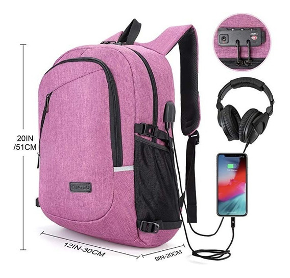 Mochila Backpack Maleta Antirrobo Carga Usb Auriculares 30l