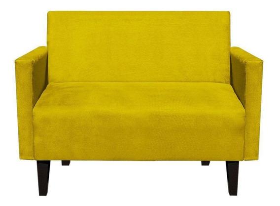 Sofá Retrô Compacto Jade 2 Lugares Suede Amarelo