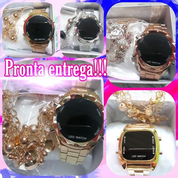 Kit 05 Relógios Digital Feminino Pulseira & Caixa Brinde