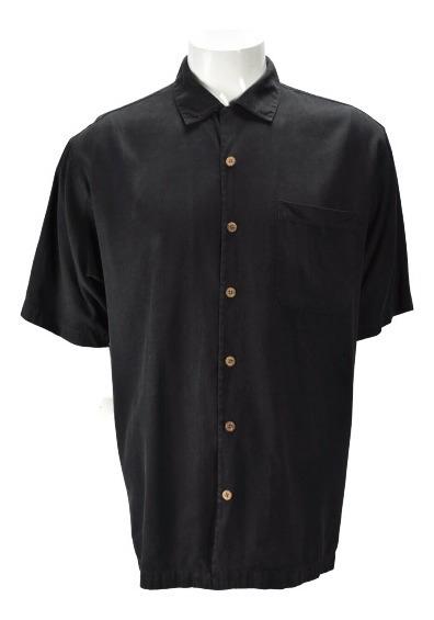 Tommy Bahama Camisa Hawaiana Negra De Hombre Talla Xl