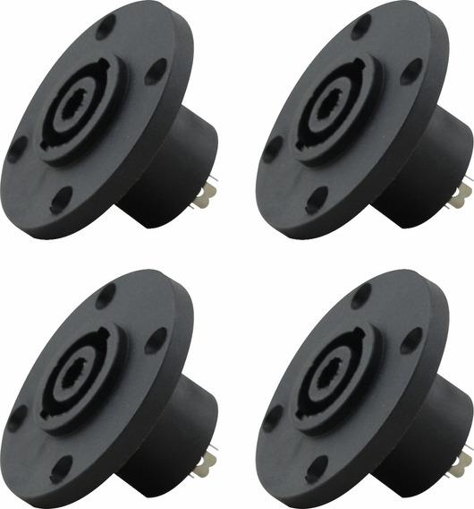 Conector Plug Speakon Fêmea Kit Com 4 Unidades Linha Pesada