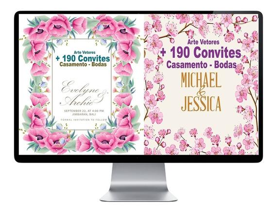 190 Artes Vetor Convite Casamento Modelo Editavel Premium