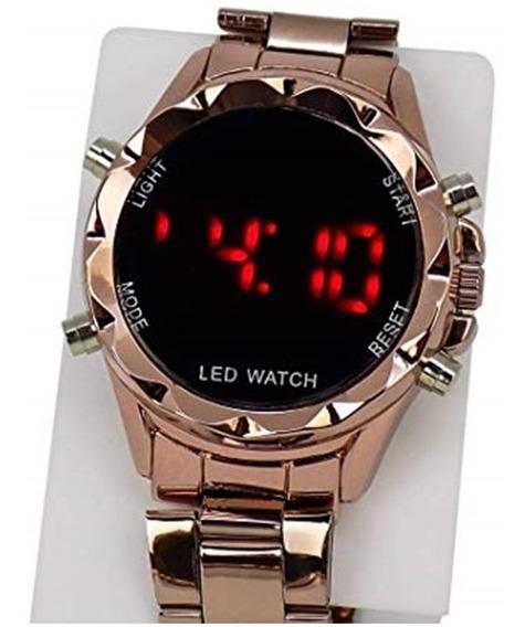 Relógio De Led Dourado Pulseira De Aço C Calendário