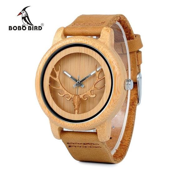 Relógio Unissex Bambu A27 Anal. Bobo Bird Cervo