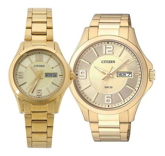 Pareja De Relojes Citizen Color Dorado Eq0593-51p.bf2003-50p Hombre Y Mujer