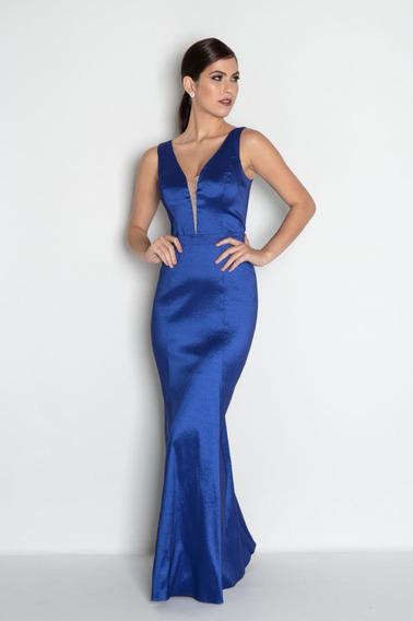 Vestido Festa Sereia Longo Marsala Azul Royal Petróleo