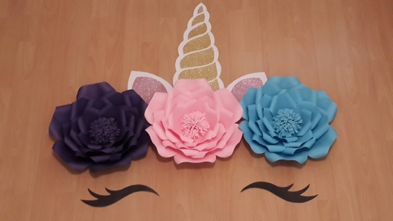 Flores Gigantes De Papel Set De Unicornio