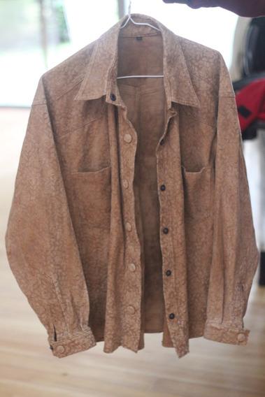 Camisa Cuero Grabada Vintage Marron Suela Mujer