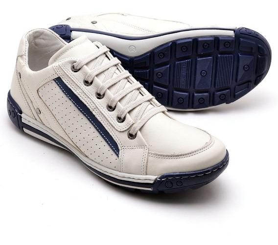 Sapatênis Em Couro Legítimo Sapato Tênis Conforto Masculino
