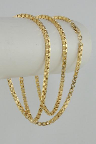 Corrente Masculina Cordão Veneziana 70cm 3mm Ouro 18k