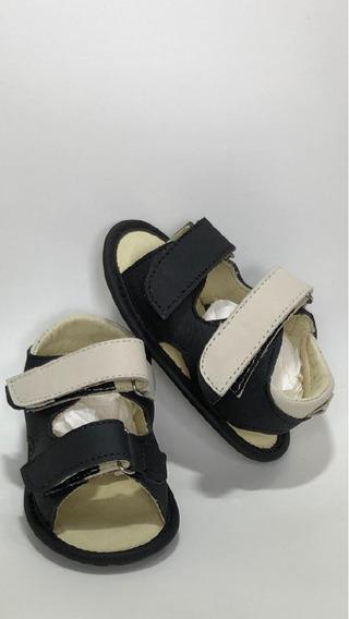 Sandalia Bebe Couro Bege/preto B+b Menino Velcro