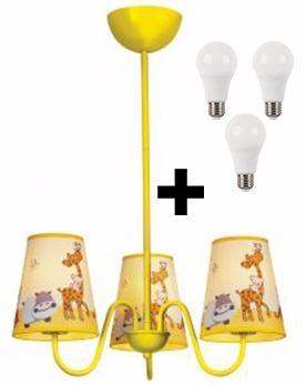 Lustre Candelabro Infantil Kids Zoo Imperdível + 3 Lampadas
