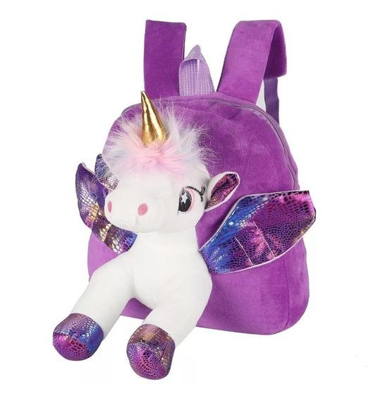 Mochila Jardín Nena Escolar Suave Unicornio Peluche Pony