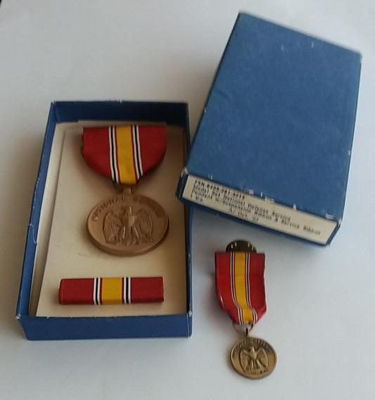 Medalha Us National Defense + Ribbon + Mini _ Box