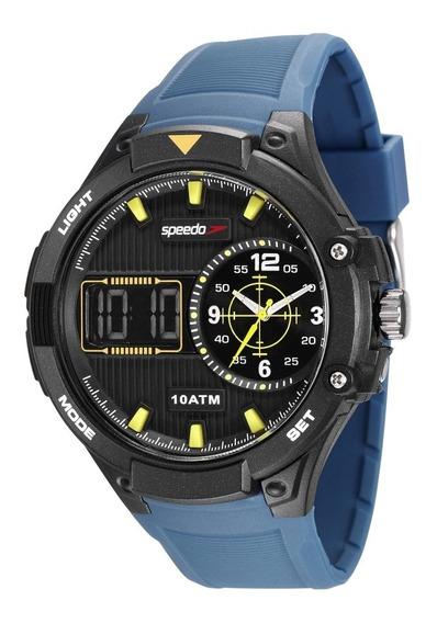 Relógio Masculino Speedo Anadigi Preto E Azul 81149g0evnp1