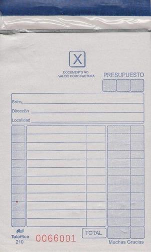 Imagen 1 de 6 de Talonario Presupuesto Chico Duplicado Con Carbónico X 120 Un