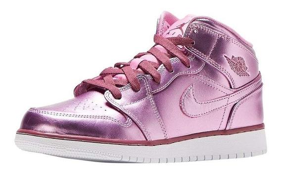 Tenis Nike Air Jordan 1 Mid Pink Rise Gs Original
