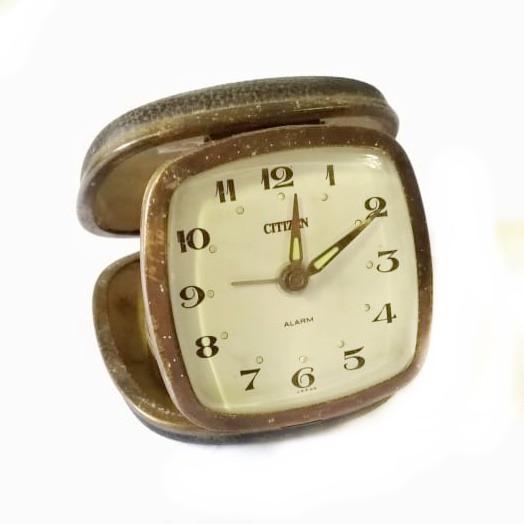 Sucata Despertador Relógio Citizen Caixa Preto Dourado