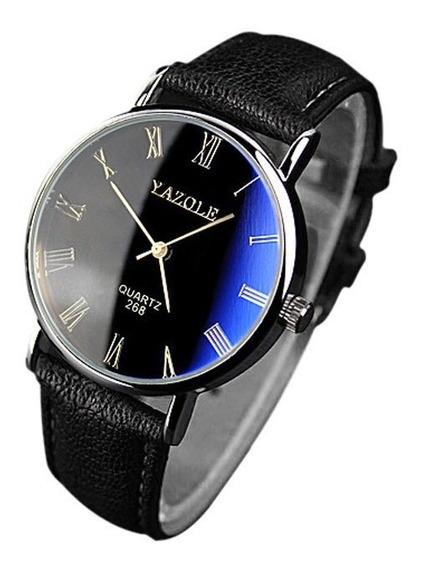 Relogio Maculino Brinde Caixa Acrílica Reflexo Azul Cd1476