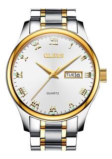 Reloj Análogo Calendario En Acero Plateado Oro Marca Olevs