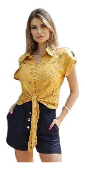 Blusa Feminino Camisa Botãos Perolas Laco Amarrad Verao Moda